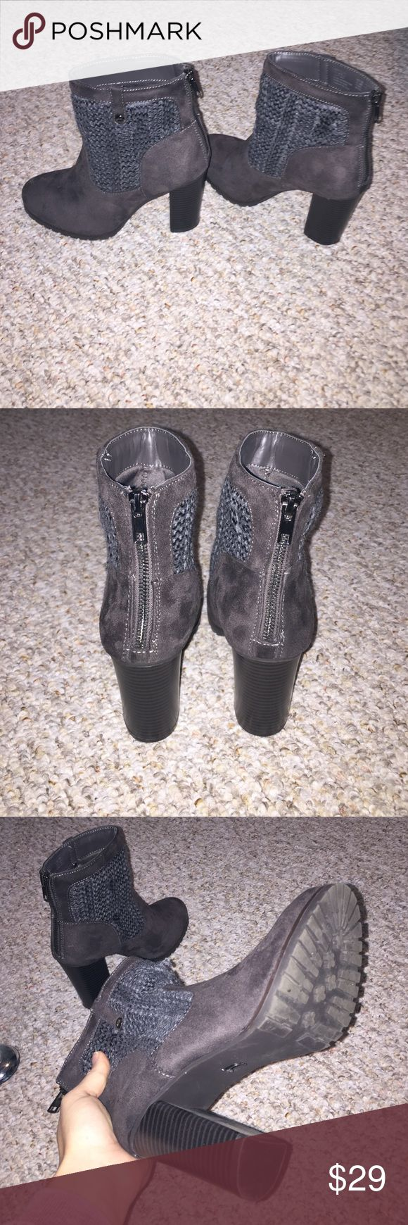 Juicy Couture Heel Boots Only worn once or twice, just a little too high for my liking! Brown suede and gray fabric. Perfect condition. Juicy Couture Shoes Heeled Boots