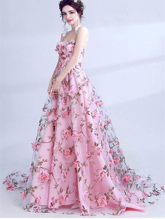 535402370d Strapless Long A-line Floral Prom Dresses