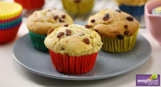 Banana & Sultana Muffins. #HealthyRecipes #DietRecipes #WeightLossRecipes weightloss.com.au