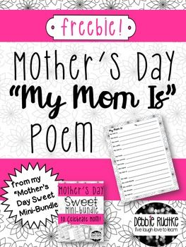 """Mother's Day """"My Mom Is"""" Poem - Free!"""