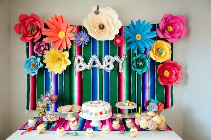 Decoration Mexican baby shower theme.