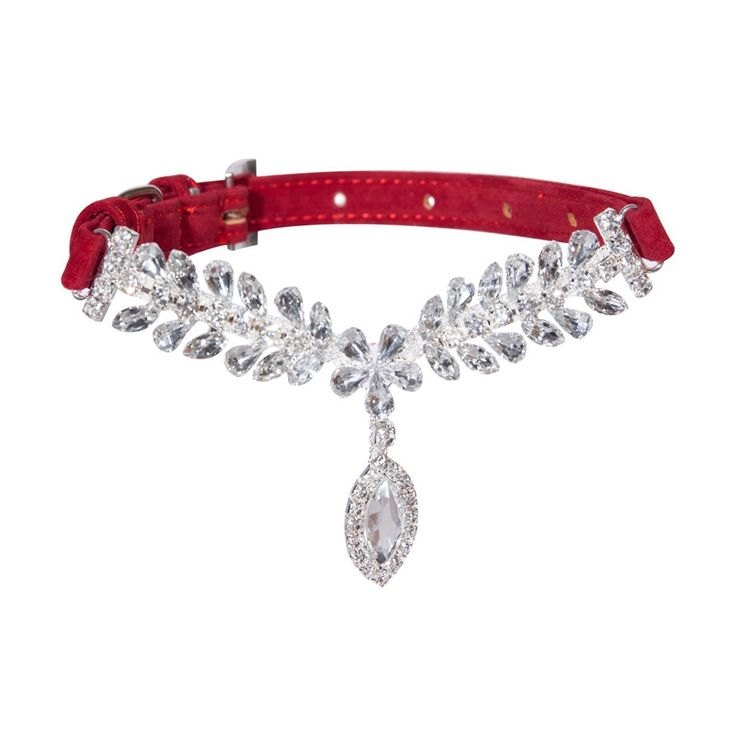 Amazon.com : Red Fashion Jeweled Diamante Dog Cat Puppy collars necklace style : Pet Supplies