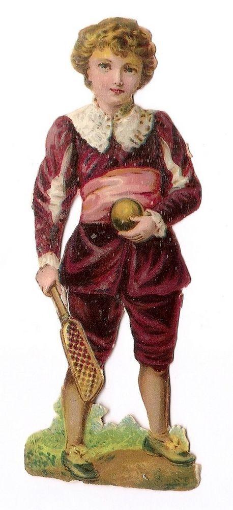 Le joueur de tennis - balle raquette jeu -  Chromo Decoupi  - Victorian Scrap