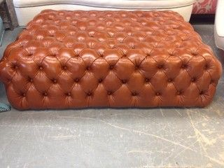 tufted leather ottoman by kostas upholstery traditional ottomans and cubes new york