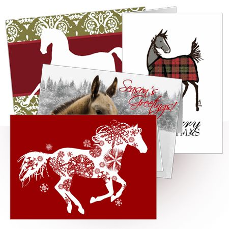 LOTS of great equestrian themed horse Christmas greeting cards! These are all…