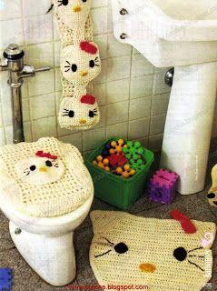 jogo de banheiro - Hello Kitty | croche croche