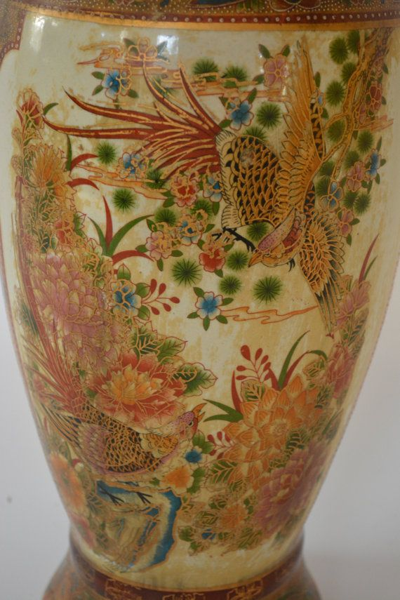 Satsuma Oversized Antique Asian Vase. Floor Vase. Chinoiserie Chic vase. Stunning Relief. Satsuma Fish Tail. Dragon