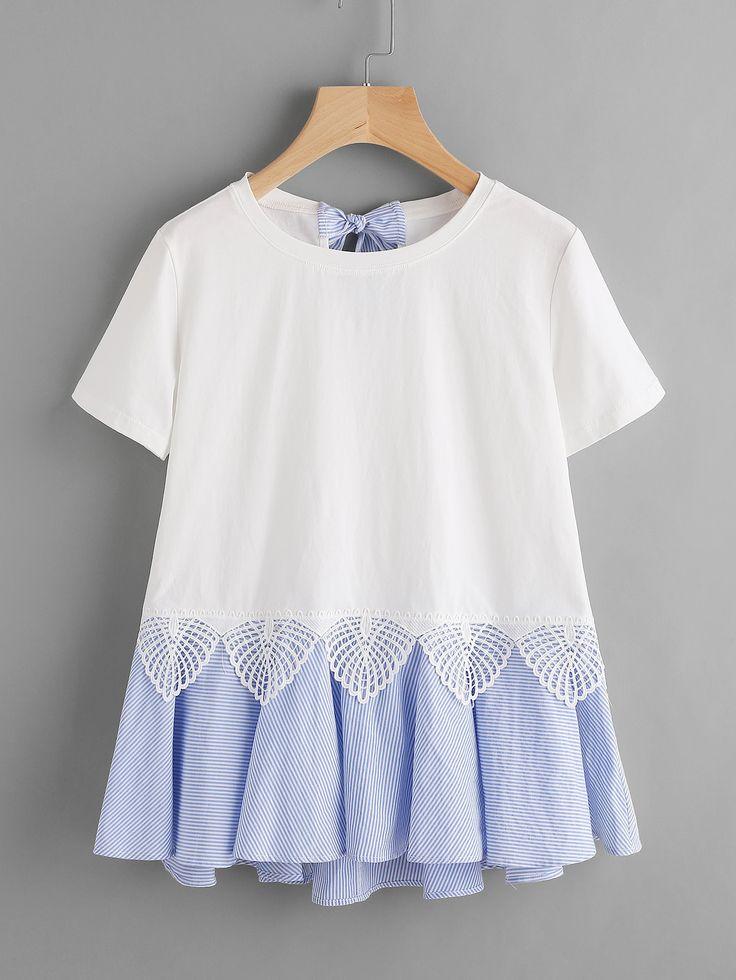 Camiseta de rayas con lazo y volantes -Spanish SheIn(Sheinside)
