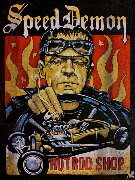 Speed Demon by Mike Bell Frankenstein Hot Rod Car Canvas Art Print – moodswingsonthenet