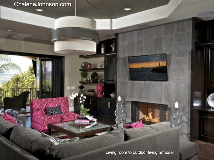 Family Room Remodel Hot Pink Grey The Ceiling Is A Faux Wallpaper That Looks Like Pebble