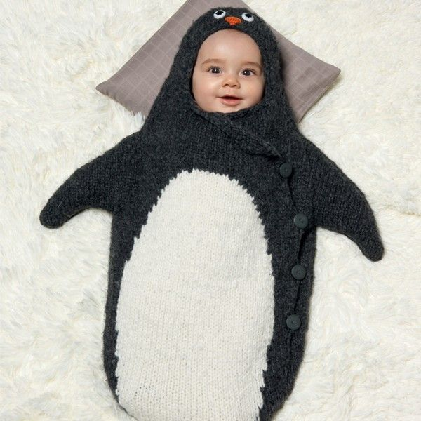 Free knitting pattern for Penguin Baby Bunting Bag cocoon