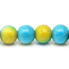 Lot 10 perles tachetées bleu jaune argenté verre 8 mm