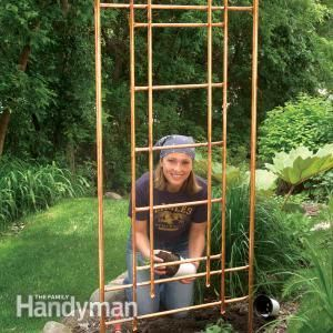 Add an interesting accent to your garden with a copper pipe trellis that will weather to a beautiful finish over the years. Learn how with The Family Handyman.