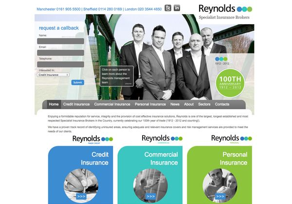 Reynolds Insure Web Design Sheffield