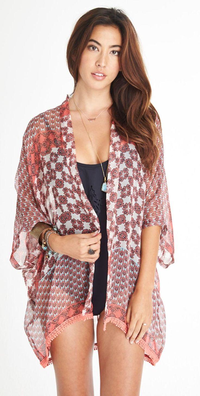Gypsy05 Sand #2015 Vidya #Printed Silk #Easy Kimono S443-6203-44