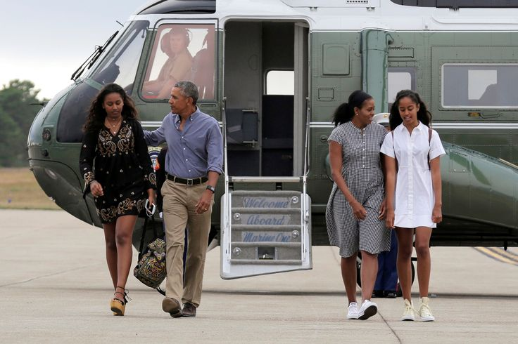 U.S. President Barack Obama, U.S. first lady Michelle Obama and their daughters Malia (R) and Sasha (L) board Air Force One at Cape Cod Coast Guard Air Station in Buzzards Bay, Massachusetts, U.S., August 21, 2016. (REUTERS/Joshua Roberts)  via @AOL_Lifestyle Read more: http://www.aol.com/article/news/2017/01/10/where-is-sasha-obama-first-daughter-conspicuously-missing-from-barack-obama-speech/21652362/?a_dgi=aolshare_pinterest#fullscreen