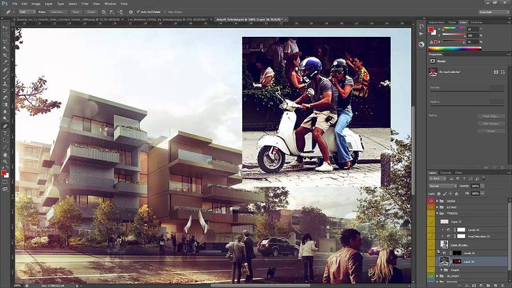 Architectural Rendering Tutorial - Post Production in Photoshop - Insert...