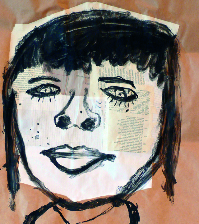 Autoritratto (collage e pittura nera su colla da parati)