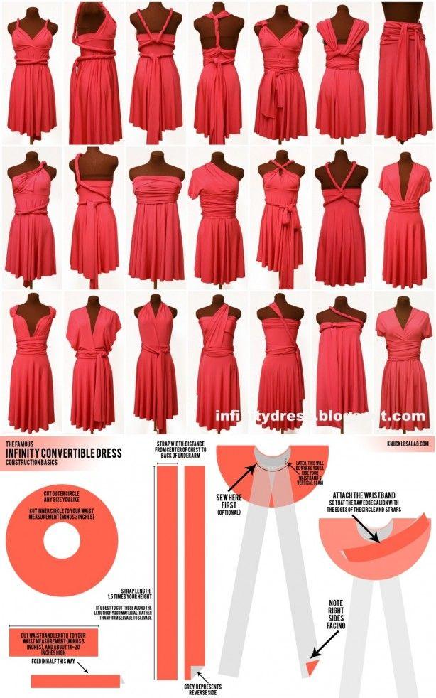 Jurk die op verschillende manieren te dragen is. Met patroon. THIS DRESS IS, SO MULTIFUNCTIONEEL, I SAY...GIRLS, MAKE THAT DRESS!! CARRY