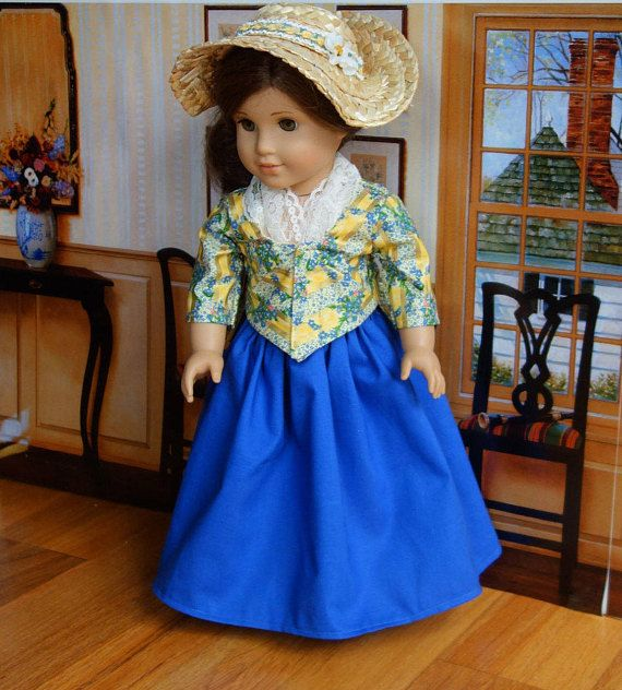 """Homemade American Girl 18"""" inch doll clothes for Felicity Historical 1700s Colonial Pierrot / Caraco Jacket Dress and Bergere Straw Hat.  Carpatina pattern."""