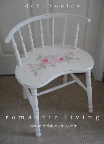 Romantic Roses Vintage Shabby Cottage Chair available at www.debicoules.com