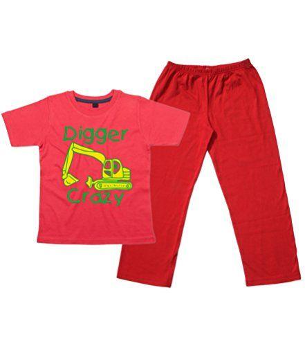 Children's Red T-Shirt & Red Long Pants Pyjama Set 'DIGGER CRAZY (DESIGN 2)