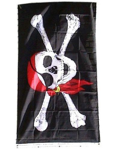 Een zwarte piratenvlag afmeting: 90x150 cm, met een schedel welke een rode hoofddoek opheeft en een zwart ooglapje voor heeft. Er achter staan kruislings 2 botten.