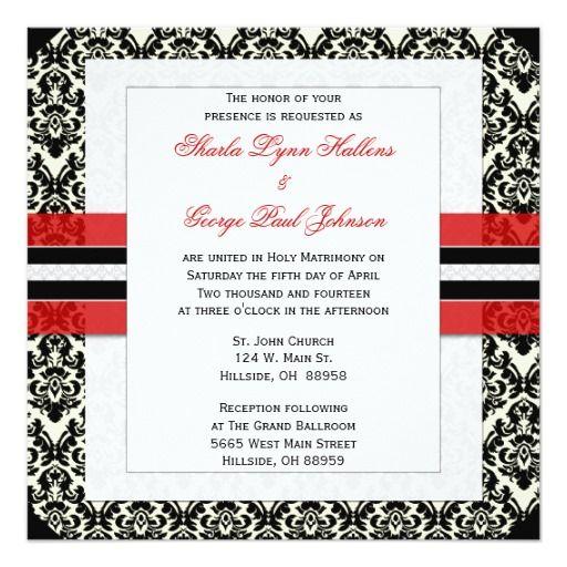 Red, Black, And White Damask Wedding Invitation