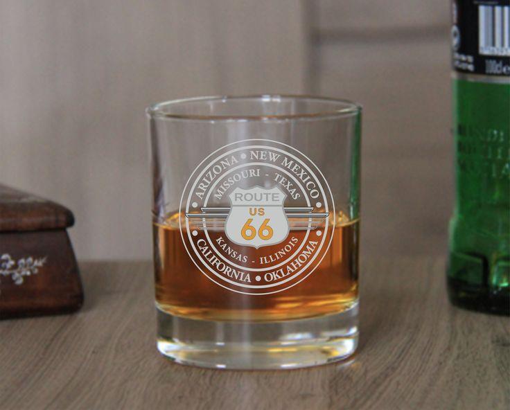 """Verre Whisky Gravé sur le theme """"Route 66"""""""