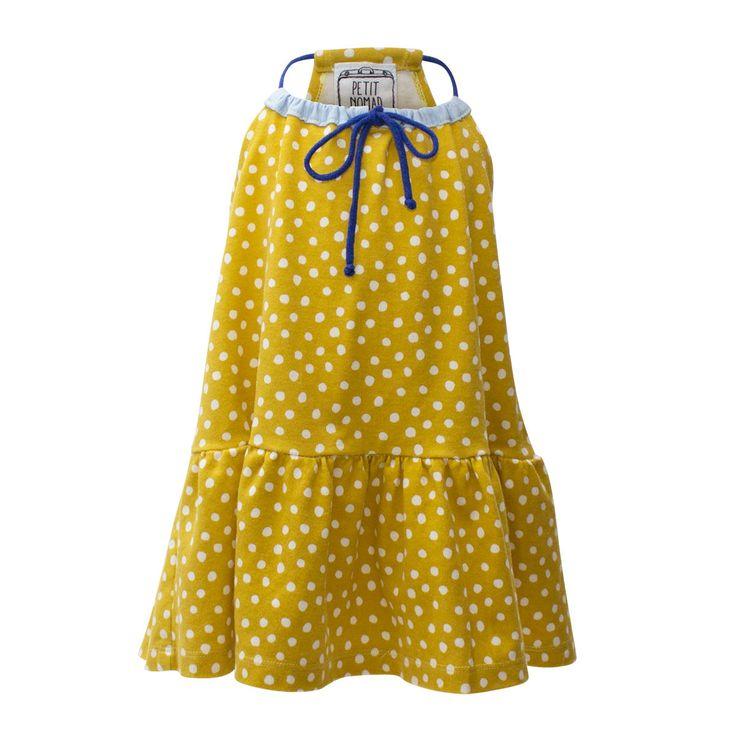 Drawstring Dot Dress [Size Adjustable]
