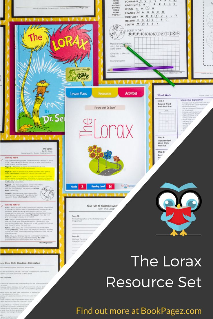 Dr. Seuss' The Lorax is a smart choice for mini lessons focused on identifying the author's purpose, making connections, retelling, synthesizing, and understanding text structure.  This common core aligned resource set also contains a running record, word work, and vocabulary connections perfect for third grade readers.  Get your copy here: https://bookpagez.com/resource/the-lorax-lesson-plans/