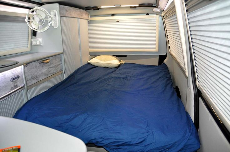 For a campervan the new range of Trakkadus has the best looking bedroom. Curtains have gone, replaced by motorhome-style blinds. Very impressive...
