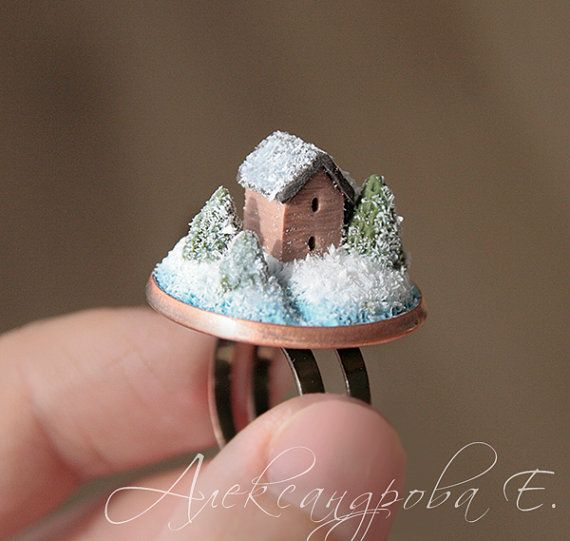 House ring - Home ring - Polymer clay miniature - Home Sweet Home Jewelry - Cottage - White Brown - Adjustable ring - Snow winter spruce