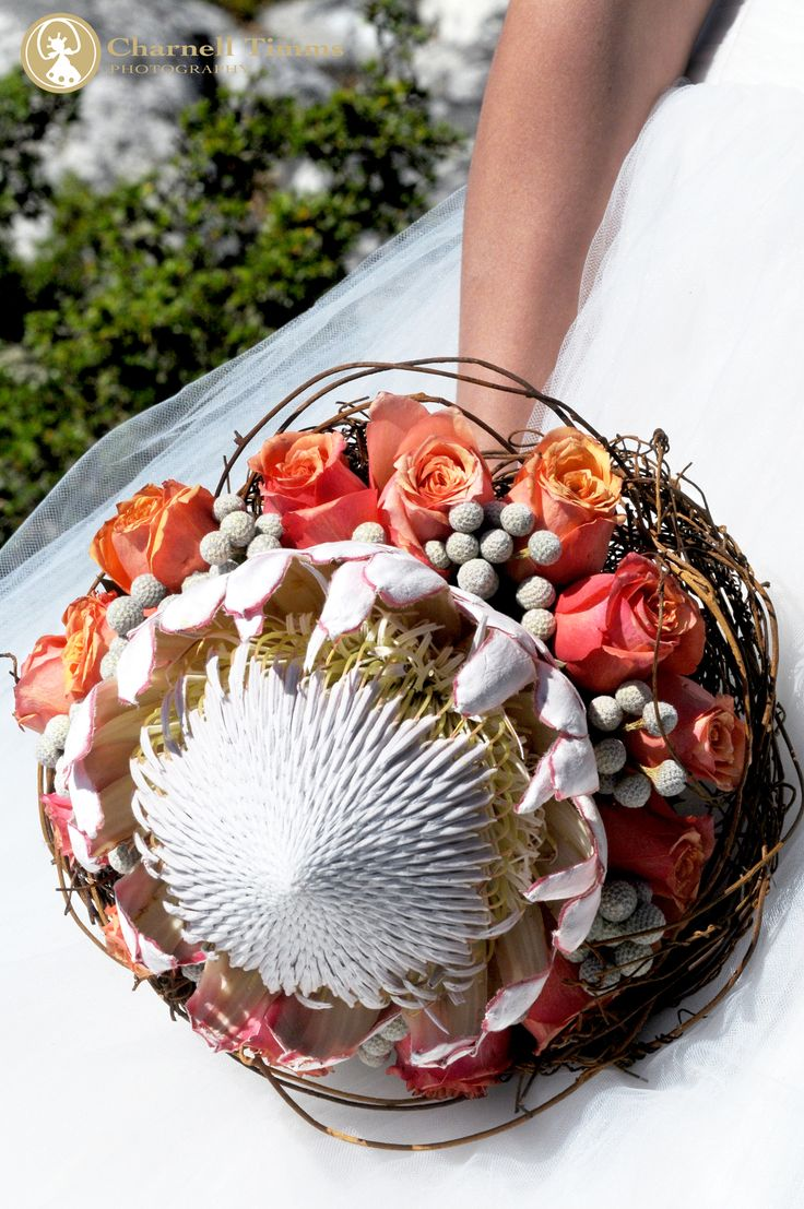 Simple and powerful King protea bridal bouquet. Charnell Timms Photography