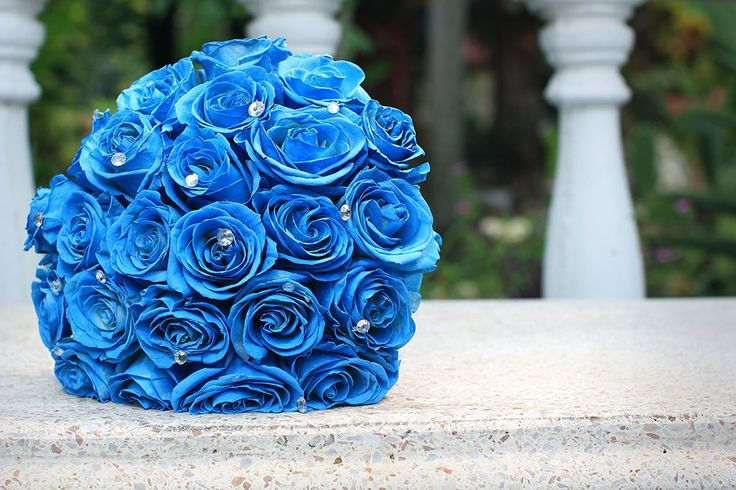 Blue bouquet - wedding bouquet - blue roses