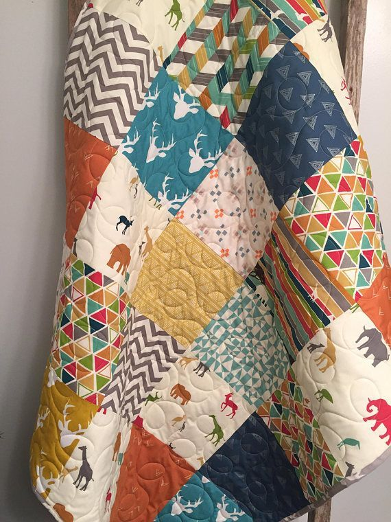 Baby quilt toddler quilt elephant gender neutral baby bedding toddler animal quilt beige blue bedding handmade quilt baby shower gift