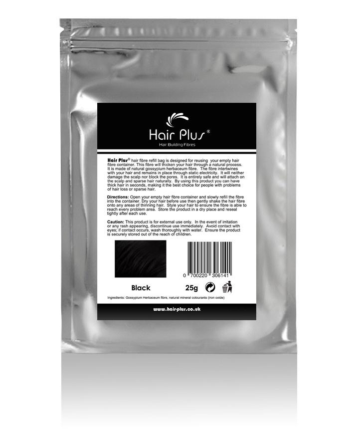 Black Hair Plus Hair Fibre Refill Bag