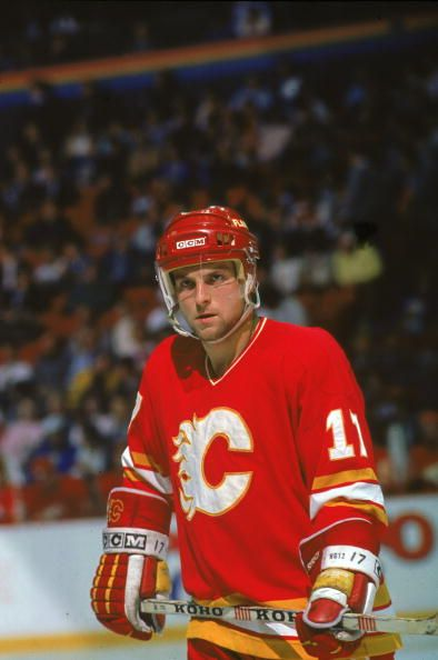 Czech hockey player Jiri Hrdina of the Calgary Flames on the ice during a game 1990