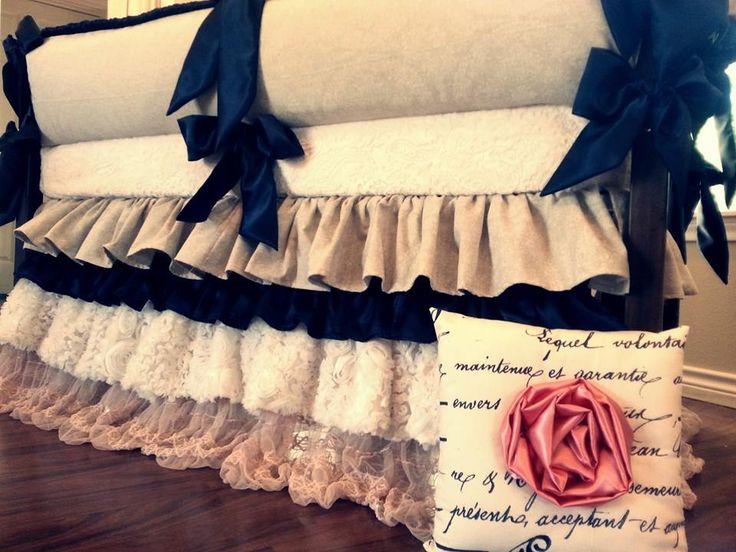 Love Bug Baby Bedding gorgeous burlap, lace white, & black crib bedding!