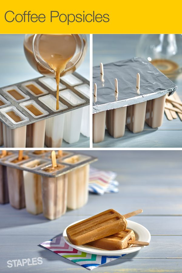 Love coffee, dessert and easy recipes? This one's for you. Mix 2 cups of cold coffee with ¾ cup of cream, and sugar to taste. Pour into popsicle molds, cover with aluminum foil and insert popsicle sticks. Freeze until solid.