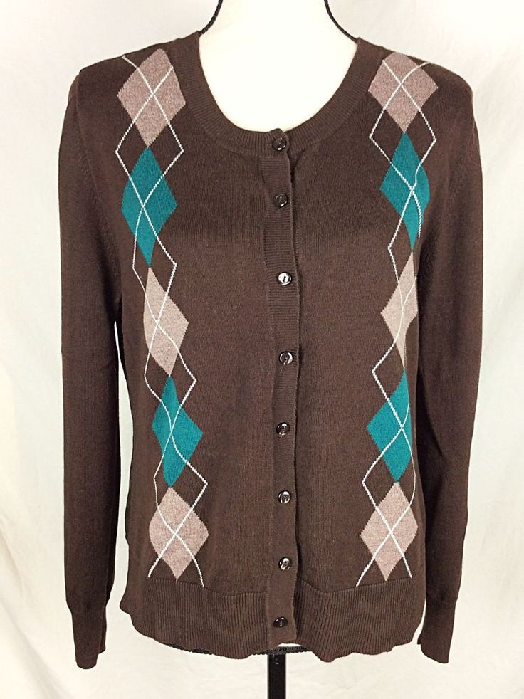 Willow Bay Cardigan Sweater Size Large 14-16 Brown Teal Argyle   | eBay