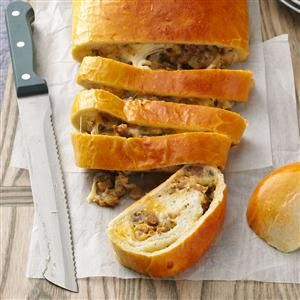 Breakfast Sausage Bread Recipe -Any time we take this savory, satisfying bread to a potluck, it goes over very well. We never bring any home. My husband generally makes this bread and prides himself on the beautiful golden loaves. -Shirley Caldwell, Northwood, Ohio