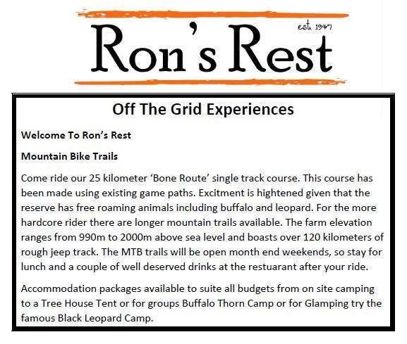 Mountain biking at Ron's Rest Booking essential: info@blackleopardcamp.com or 0826929665