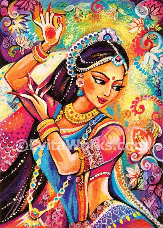 bollywood dance beautiful Indian woman painting by EvitaWorks