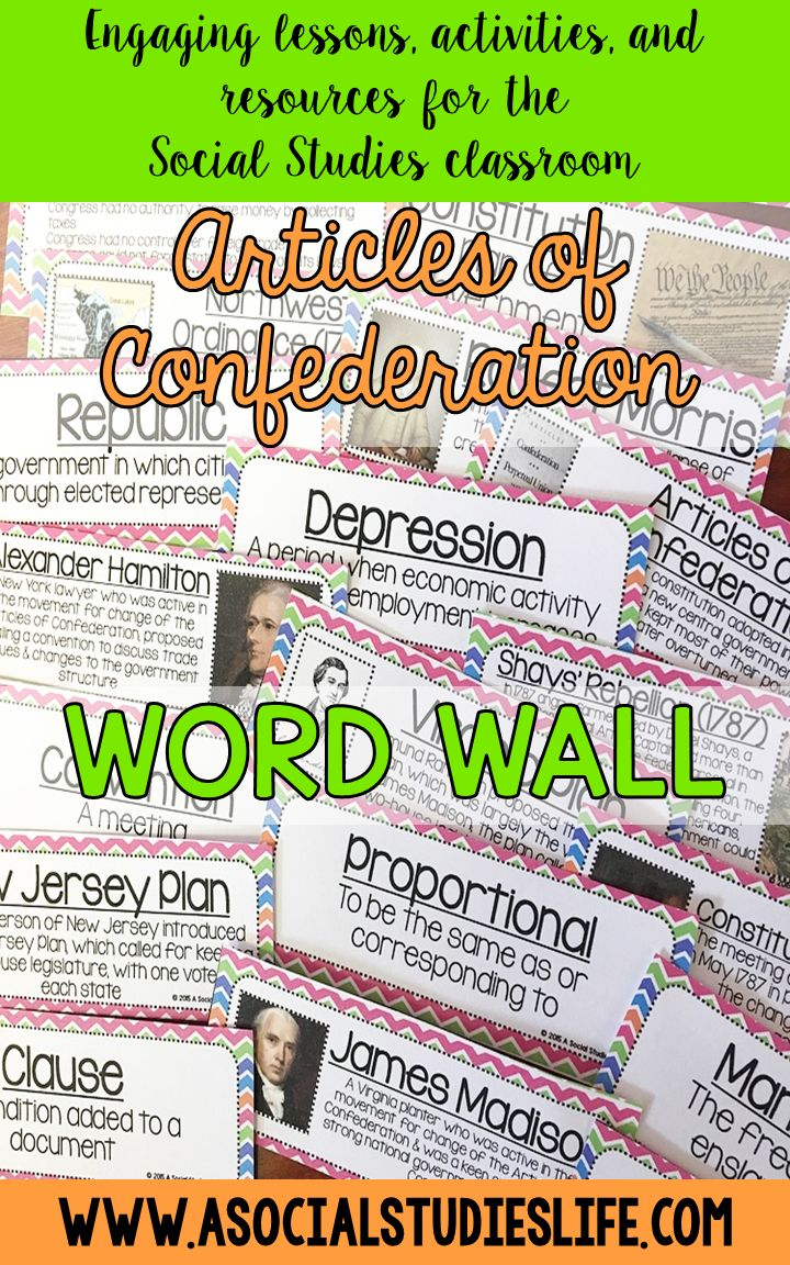 Love hanging up these Articles of Confederation word wall posters in my classroom.  They can be hung with or without definitions!  Great for middle school Social Studies.