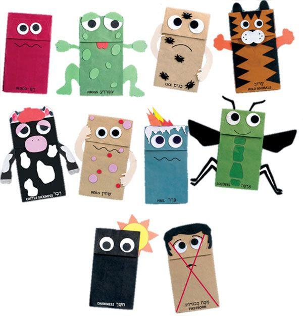Las 10 plagas - títeres con bolsitas de papel madera
