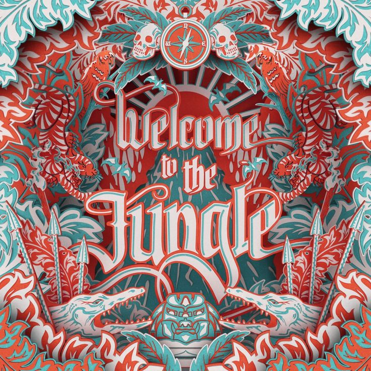 """Blackletter in Contemporary Design: Welcome to the Jungle by I Love Dust: large looping descender on """"g"""", interesting flourishes on """"W"""", """"J"""", """"h"""" and """"m"""""""