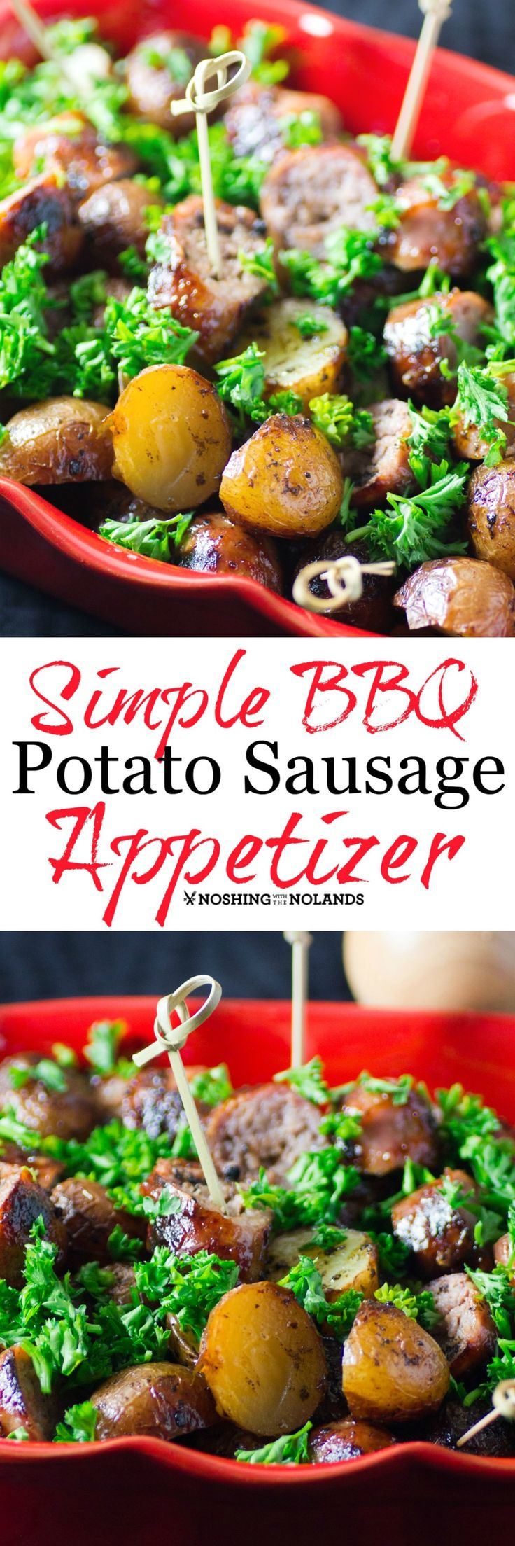 Simple BBQ Potato Sausage Appetizer by Noshing With The Nolands will be a new summer favorite. So easy for entertaining or just enjoying little creamer potatoes.