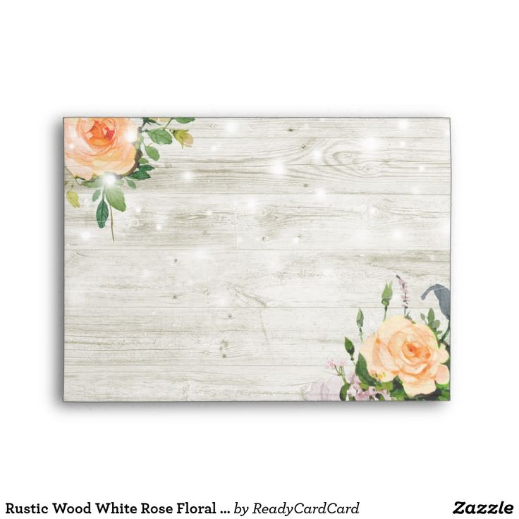 Rustic Wood White Rose Floral String Light Wedding Envelope Wedding 5x7 Envelope Templates - Elegant Peach White Roses Floral and String Lights on Rustic Wood Background. A Perfect Design For Your Big Day! All Text Style, Colors, Sizes Can Be Modified To Fit Your Needs.