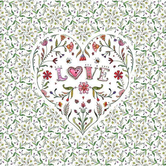 Green Flowers LoveHeart Art Print
